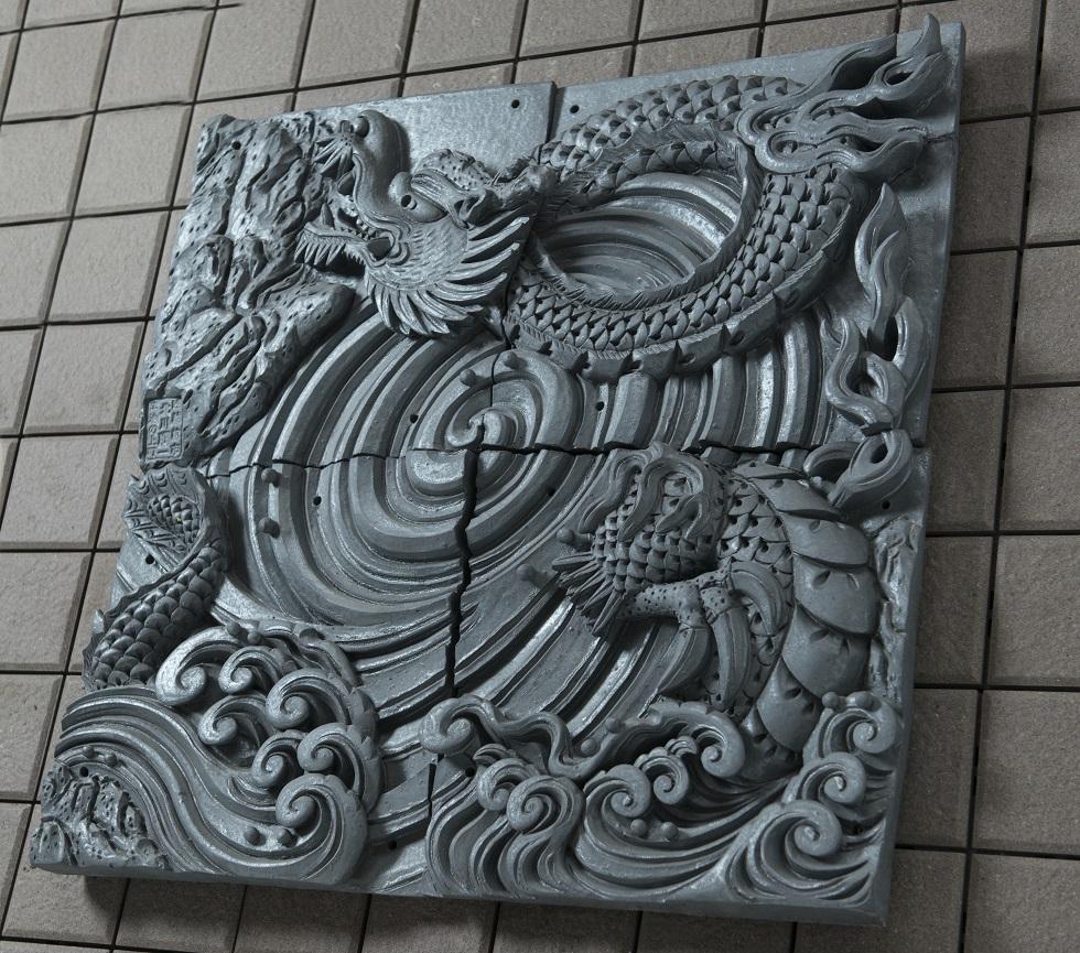 渦まとう龍[陶壁]