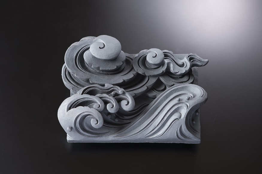 雲水一枚土板(イ)[鬼瓦/和風置き物]