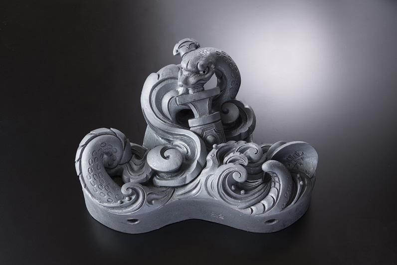 勇ましき蛇神 [すみ鬼瓦/和風置き物]